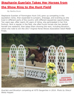 Stephanie Guerlain...from the Show Ring to the Hunt Field
