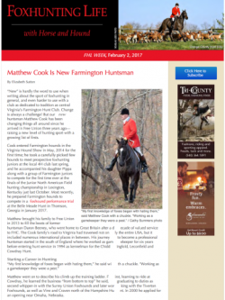 Matthew Cook Is New Farmington Huntsman